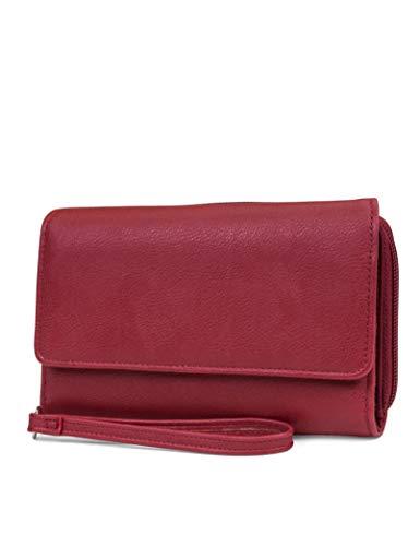 MUNDI Big Fat Womens RFID Blocking Wallet Clutch Organizer Removable Wristlet - Red Fat