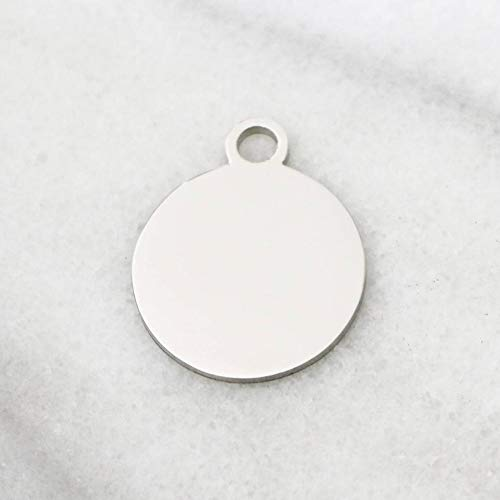 Blank Charms, Stainless Steel, Circle Charms, 20mm x 20mm, Mirror Finish