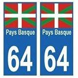 64 Pays Basque autocollant plaque - arrondis