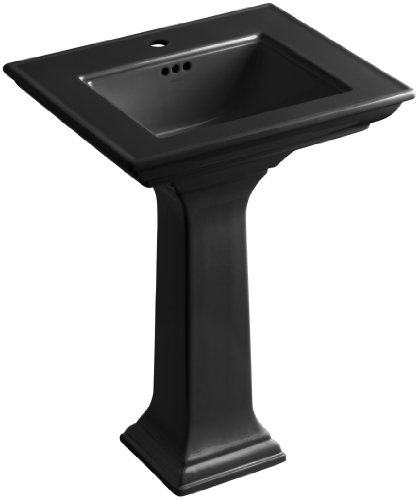 KOHLER K-2344-1-7 Memoirs Pedestal Bathroom Sink with Stately Design and Single-Hole Faucet Drilling, Black Black - Faucet Holes Pedestal