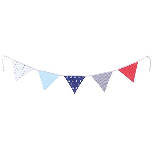 100% Cotton Fabric Bunting Flag Garland Pennant Banner by ULLENBOOM | Anchor/Star/Checkered | Baby Shower/Party/Nursery | 6 Ft - Unisex Red/Blue