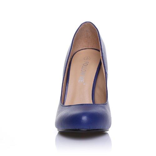 HILLARY Marineblaue Kunstleder Stilleto High Heel Klassischer Schuh Marineblau PU