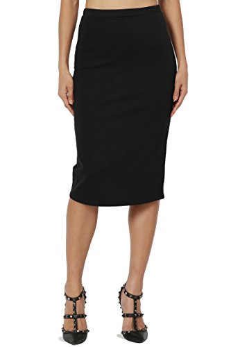 ic Stretch Thick Ponte Knit Pencil Midi Skirt Black L (Knit Womens Skirt)