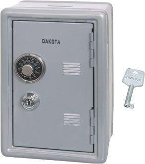 Caja fuerte gris hucha con llave y combinaci-n. Medidas 12x10x18cm: Amazon.es: Hogar
