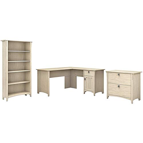 Bush Furniture Salinas 60W L Shaped Desk with Lateral File Cabinet and 5 Shelf Bookcase in Antique White