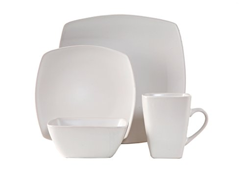 Lynns 16 Piece Square Dinner Set, Coquina/White