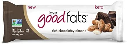 Love Good Fats Bars Keto Bar, Keto Snacks for Keto Diet, Low Carb Snacks for Low Carb Diet, Low Net Carbs, Gluten Free, Non-GMO – 12 bars x 39g each, Rich Chocolatey Almond