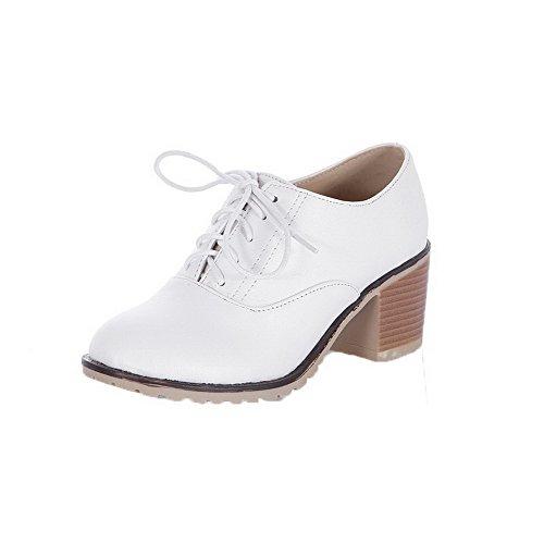 AllhqFashion Womens PU Lace-Up Round-Toe Low-Heels Solid Pumps-Shoes White 8sqtXfy