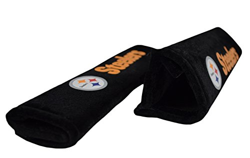 Official National Football League NFL Fan Shop Authentic 2-pack Seat Belt/shoulder Strap Cover. Team Seatbelt Covers - Drive and Passenger or Duffle Bag Strap Cover (Pittsburgh Steelers)