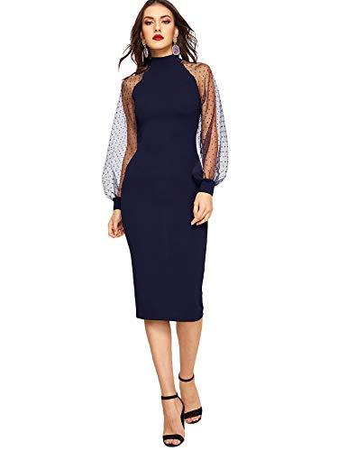 Romwe Women's Long Mesh Bishop Sleeve Mock Neck Zipper Back Elegant Slim Fit Pencil Sheath Dress Navy Blue Large