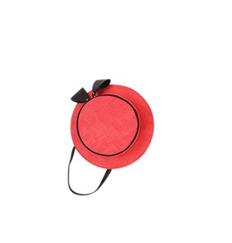 Mujer Pequeña Bolsos de Hombro Sombrero Vintage Bolsos de Mano PU Cuero Bolsos Cross Body Bolsos Bandolera Vino Rojo
