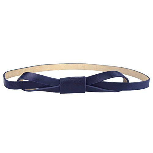 Mistere Fashion Women Bowknot Faux Leather Thin Women Belt,105cm,DarkBlue by Mistere Apparel-belts