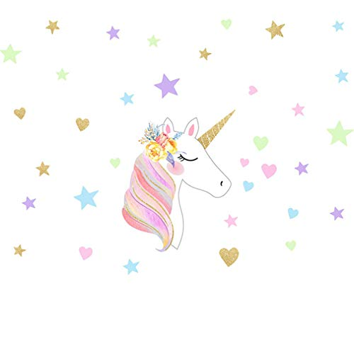 KUYUE Cute Unicorn Wall Decals Removable Wall Art Stickers Kids Girls Bedroom Home Nursery Room Wall Mural Decor