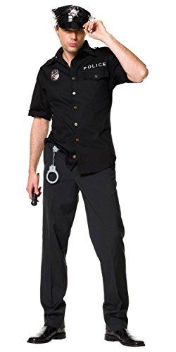 Costumes Black People (Leg Avenue Men's 4 Piece Policeman Costume, Black, Medium / Large)