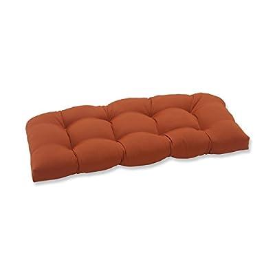 Pillow Perfect Outdoor Cinnabar Wicker Loveseat Cushion, Burnt Orange