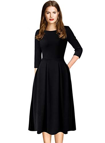 VFSHOW Womens Black 3/4 Sleeves Vintage Pleated Pockets Work Business Casual Skater A-Line Dress 2766 BLK 3XL