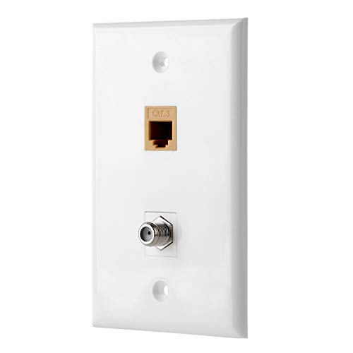 Sancable - 2 Port Wall Plate - Cat3 Coax Wall Plate with 1 Phone Port + 1 TV Coax Cable/F-Type Keystone Female to Female - White ()