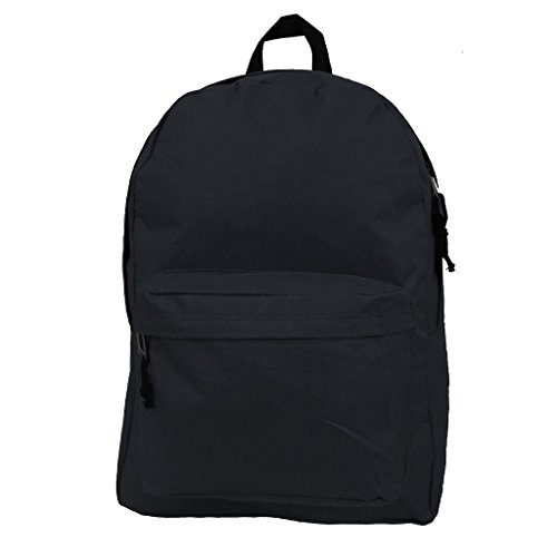 Basic Backpack Classic Bookbag Simple School Book Bag Casual Student Daily Daypack 18 Inch with Curved Shoulder Straps Black ()