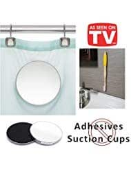 Fog Free 2 Piece Shower Mirror   Mounts on Shower Curtain   No more unreliable suction cups   Free Magnic Bamboo Toothbrush with wall mount   As Seen On TV (Yellow)