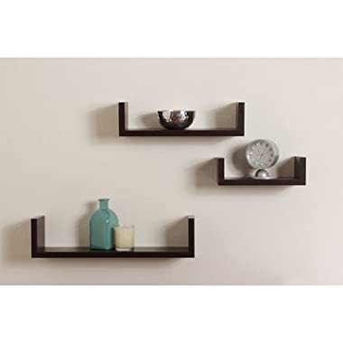 Set of 3 Floating U Shelves in Walnut Finish