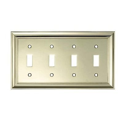 allen + roth Polished Brass Decorative Quad Toggle Wall Switch Plate (Allen Roth Covers)