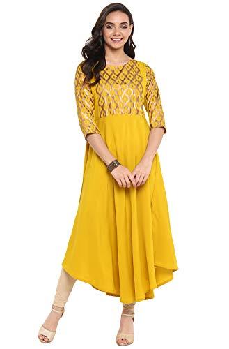 Janasya Indian Tunic Tops Crepe Kurti for Women (JNE3294-KR-XS) Yellow