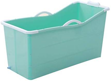 インフレータブルバスタブアダルト折りたたみ浴槽風呂バレル大人、厚いプラスチックバケツの浴槽 (Color : Green)