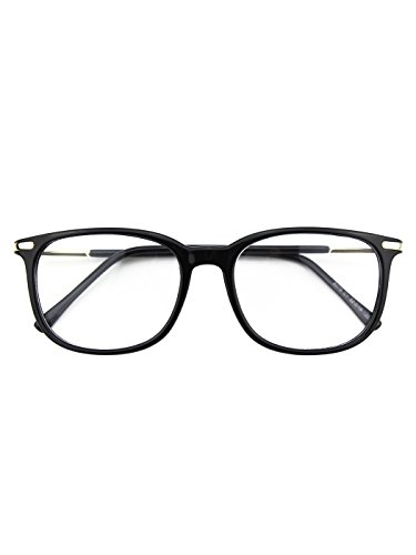Happy Store CN79 High Fashion Metal Temple Horn Rimmed Clear Lens Eye Glasses,Glossy Black -