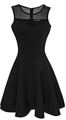 Sylvestidoso Fashion Women's A-Line Pleated Sleeveless Little Cocktail Party Dress with Floral Lace