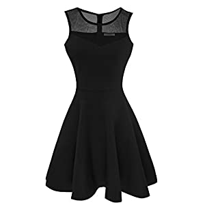 Sylvestidoso Fashion Women's A-Line Pleated Sleeveless Little Cocktail Party Dress Floral Lace
