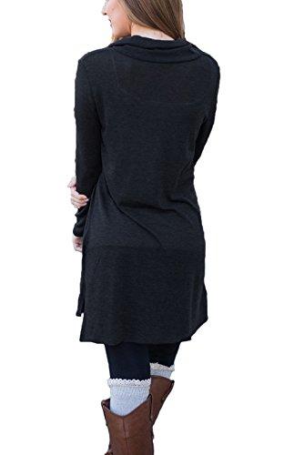Sleeve Lapel Button Black Long Sides Slit Precious Neck Our Women's Dress Shirt qCXwtIB