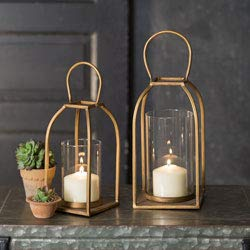 Attractive and Graceful Large Tribeca Gold Rustic Indoor//Outdoor Light for Your Home Decor Antique Brass Metal Lantern Candle Holder with Clear Glass Modern Rustic Vintage Farmhouse Style