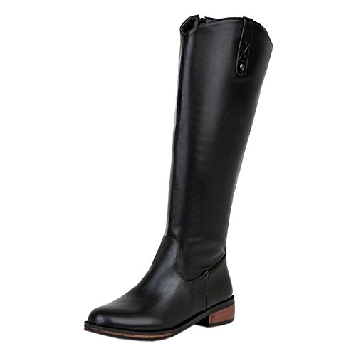 Zipper Black TAOFFEN Boots With Women's Long x7XrqEXI