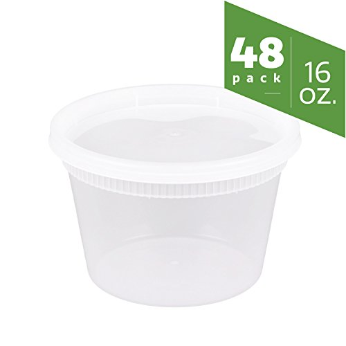 16 oz. Plastic Deli Food Storage Containers with Airtight Lids [48 Sets] (Plastic Container Lid Storage)