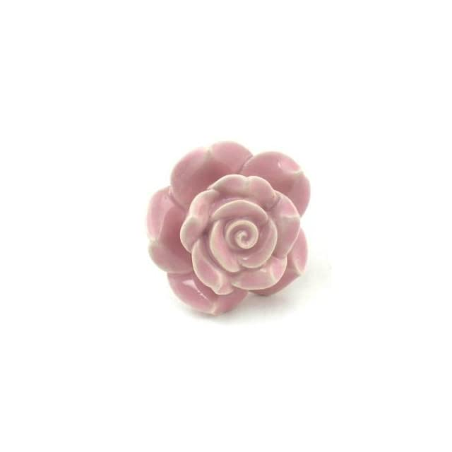 Sm Pink Rose Ceramic Cabinet Knobs, Drawer Pulls & Handles Set/6pc ~ K127 Hand Painted Vintage Ceramic Rose Knobs with Chrome Hardware. Ceramic Knobs, Handles & Pulls for Dresser, Drawers, Cabinets & Vanity   Cabinet And Furniture Knobs