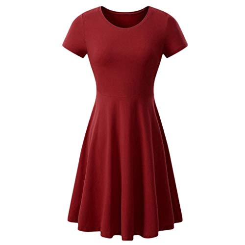 UONQD Dress for Women Summer Ladies Casual Flared Hem Mini Dress Short Sleeve Round Neck Solid Loose WineRed