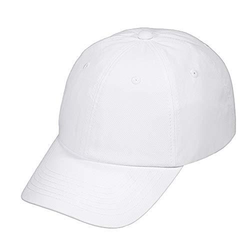 Unisex Classic Plain 100% Cotton Baseball Cap, 6-Panel Blank Washed Low Profile Adjustable Baseball Hat (White) ()