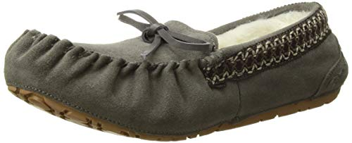 MUK LUKS Women's Jane Suede Moccasin, grey,8 M US