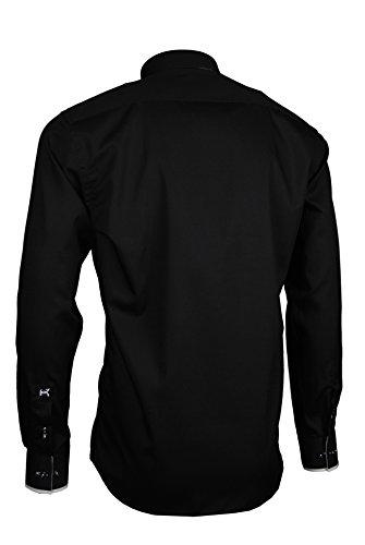 Giorgio Capone Premium Herrenhemd, 100% Baumwolle, Schwarz, Button-Down-Kragen, Langarm, Slim/Normal & Regular-Plus Fit