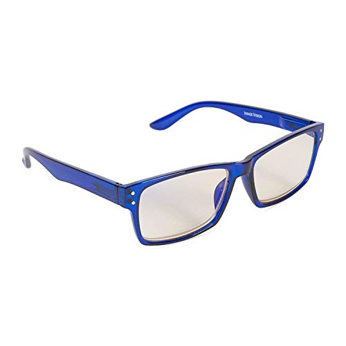 Inner Vision Eye Strain Relief Computer Screen Reading Glasses w/Case - Anti Blue Light, Anti Glare, Scratch Resistant, Spring Hinges - Unisex, (2.5 x Magnification), Blue