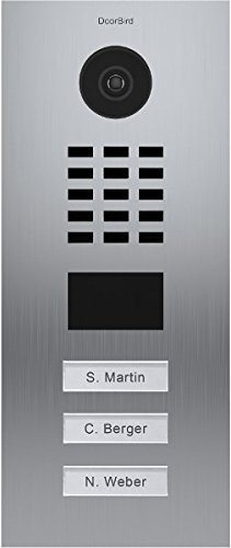 DoorBird IP Video Door Station Flush-mounted, Brushed Stainless Steel Call buttons Multi Tenants - Access Control- POE Capable (Stainless Steel / 3 Call Buttons) by DoorBird