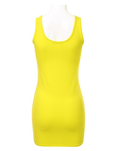 Stretch Tank Bodycon Mini FLORIA Sexy Ftt007 Fitted Dress Neck S Scoop 3X yellow Womens qSwyRR0Ip