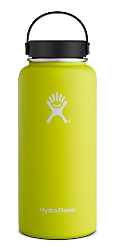 Hydro Flask 32 oz Double Wall Vacuum Insulated Stainless Steel Leak Proof Sports Water Bottle, Wide Mouth with BPA Free Flex Cap, Citron