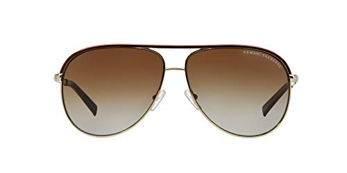Armani Exchange Unisex-Adult Metal Unisex Sunglass 0AX2002 Polarized Aviator Sunglasses, LIGHT GOLD/DARK BROWN, 61 ()