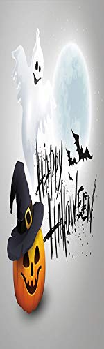 Halloween 3D Decorative Film Privacy Window Film No Glue,Frosted Film Decorative,Happy Celebration Typography Stained Look Cute Ghost Pumpkin Hat Print Decorative,for Home&Office,23.6x59Inch White Bla -