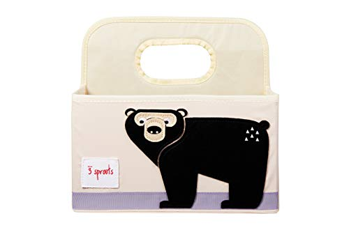 3 Sprouts Baby Diaper Caddy, Organizer Basket for Nursery, Bear