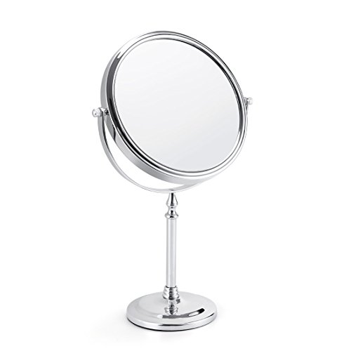 Makeup Vanity Mirror 5X Magnifying Two-side Tabletop Swivel Comestic Mirror Chrome Finish 15-inch Height ()