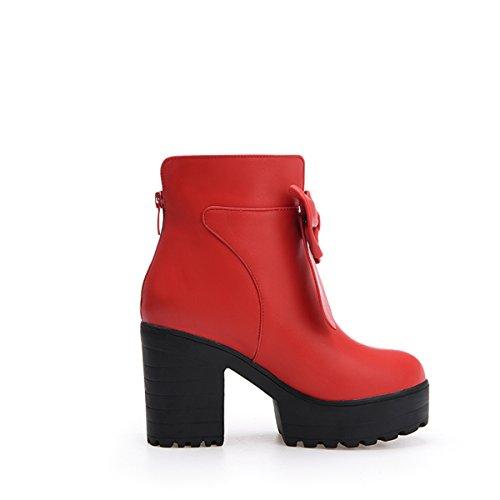 ... YE Damen Blockabsatz Ankle Boots Stiefeletten Plateau mit Schleife und  Reißverschluss Süß Elegant Schuhe Rot ...