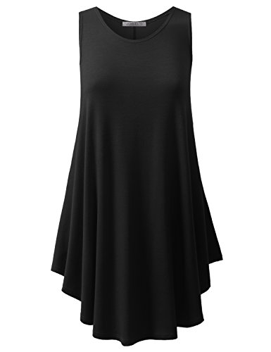 URBANCLEO Womens Scoop Neck Sleeveless Elong Tunic Top Shirt Black 2XLARGE