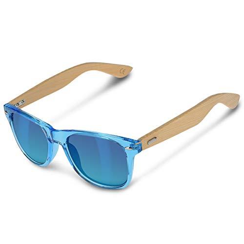 DL-forever Gafas de sol UV400 - Gafas de madera para hombre y mujer - Gafas de sol con patillas de madera en diferentes colores